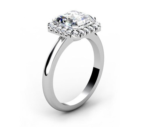 Custom Made Asscher Cut Halo Diamond Engagement Ring 4 2