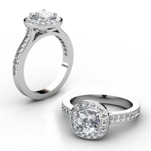 Custom Made Cushion Cut Diamond Halo Engagement Ring 1 1 2