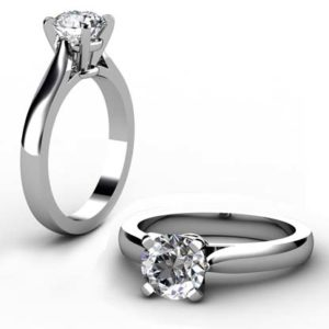 Custom Made Round Brilliant Cut Diamond Solitaire Engagement Ring 1 2