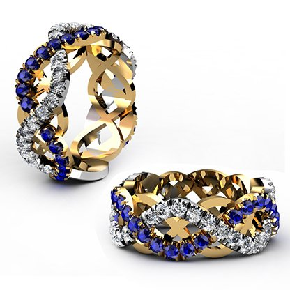 Custom designed Woven Sapphire and Diamond Wedding Ring 1