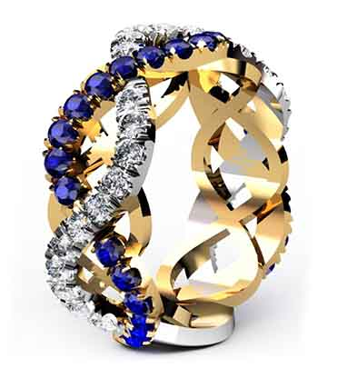 Custom designed Woven Sapphire and Diamond Wedding Ring 2