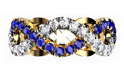 Custom designed Woven Sapphire and Diamond Wedding Ring 4