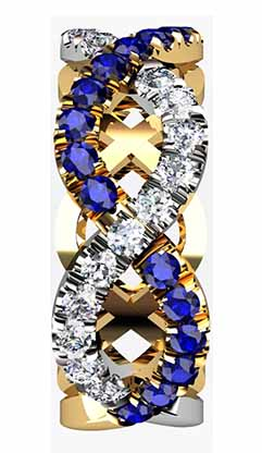 Custom designed Woven Sapphire and Diamond Wedding Ring 5