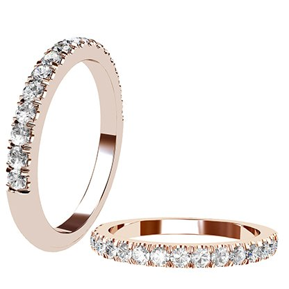 Cut Down Diamond Half Eternity Band in Rose Gold 1