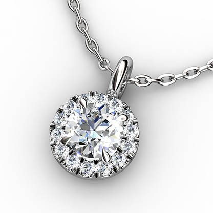 Cut Down Set Diamond Halo Pendant 1 2