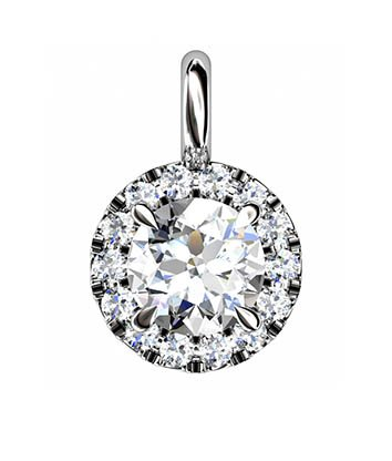 Cut Down Set Diamond Halo Pendant 2 2