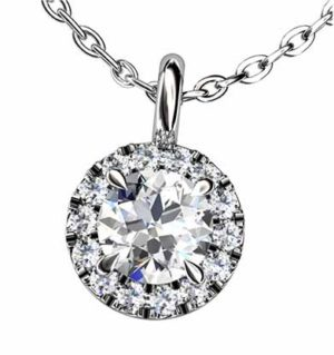 Cut Down Set Diamond Halo Pendant 3 2