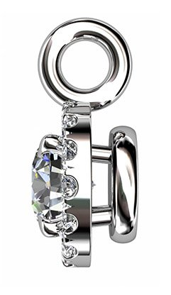 Cut Down Set Diamond Halo Pendant 5 2