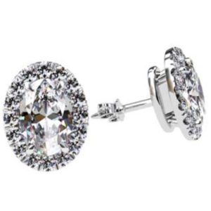 Cut Down Set Oval Diamond Halo Earrings 1 1 2
