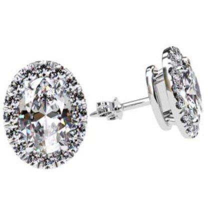 Cut Down Set Oval Diamond Halo Earrings 1 1 2