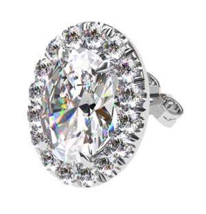 Cut Down Set Oval Diamond Halo Earrings 3 2