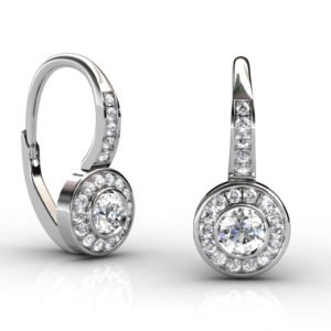 Diamond Bezel Drop Earrings 1 2