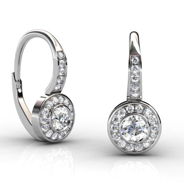 Diamond Bezel Drop Earrings 1 2