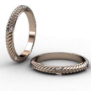 Diamond Inset Rose Gold Braided Wedding Band 1