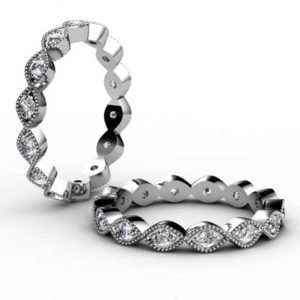Diamond Milgrain Beaded Leaf Eternity Band 1