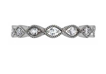 Diamond Milgrain Beaded Leaf Eternity Band 2