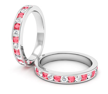 Diamond and Ruby Channel Set Ring 1 2