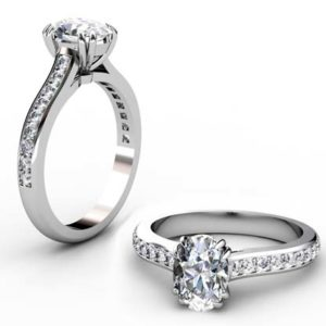 Doube Prong One Carat Oval Diamond Engagement Ring 1 2