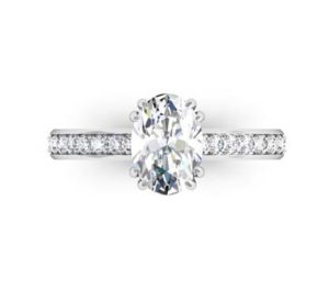 Doube Prong One Carat Oval Diamond Engagement Ring 2 2