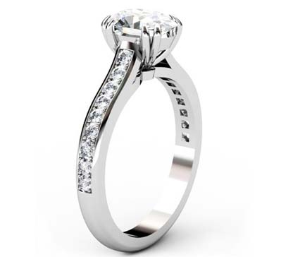 Doube Prong One Carat Oval Diamond Engagement Ring 4 2