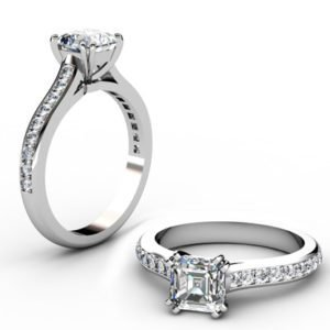 Double Claw Asscher Cut Diamond Engagement Ring 1 2