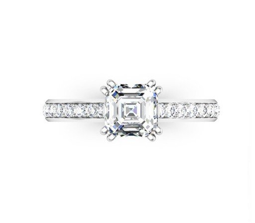 Double Claw Asscher Cut Diamond Engagement Ring 2 2