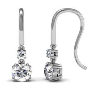 Double Claw Two Stone Round Brilliant Cut Diamond Drop Earrings 1 1 2