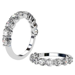 Double Claw V Shape Set Diamond Wedding Band 1