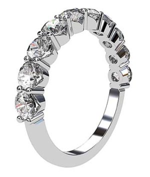 Double Claw V Shape Set Diamond Wedding Band 2