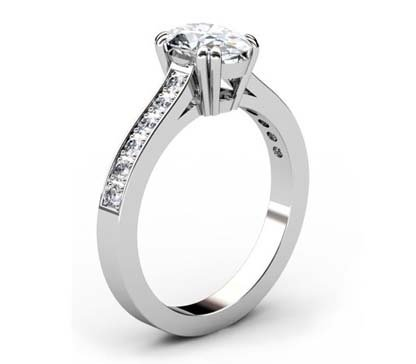 Double Prong Custom Made Oval Shaped Diamond Engagement Ring 4 2