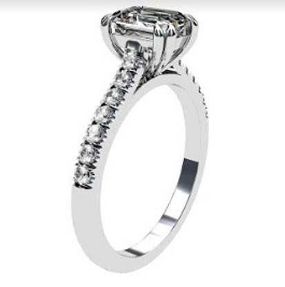 Double Prong Emerald Cut Diamond Engagement Ring 4 2