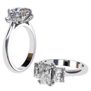 Double Prong Emerald Cut Diamond Three Stone Engagement Ring 1 2