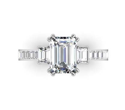 Double Prong Emerald Cut Three Stone Diamond Engagement Ring 2 2