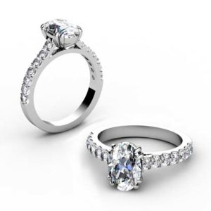 Double Prong Oval Shape Diamond Engagement Ring 1 2