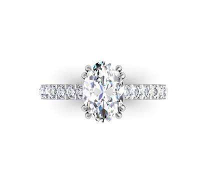 Double Prong Oval Shape Diamond Engagement Ring 2 2