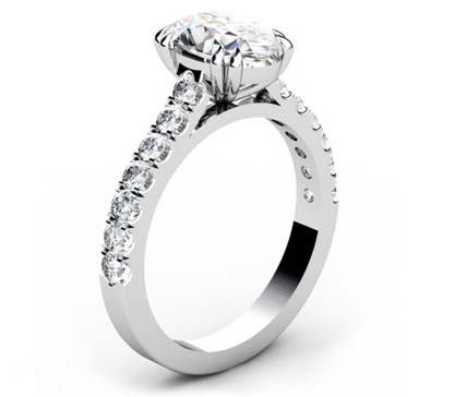 Double Prong Oval Shape Diamond Engagement Ring 4 2