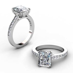 Double Prong Radiant Cut Diamond Engagement Ring 1 2