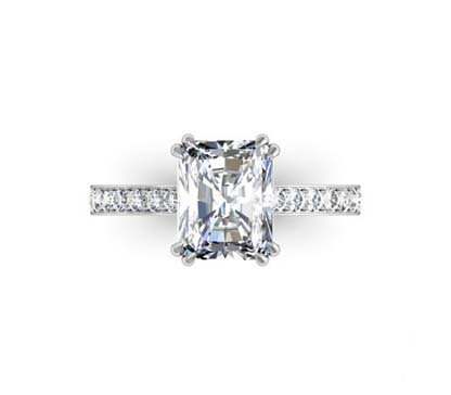 Double Prong Radiant Cut Diamond Engagement Ring 2 2