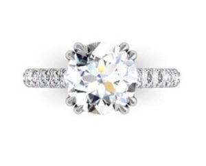 Double Prong Round Brilliant Cut Diamond Engagement Ring 2 3
