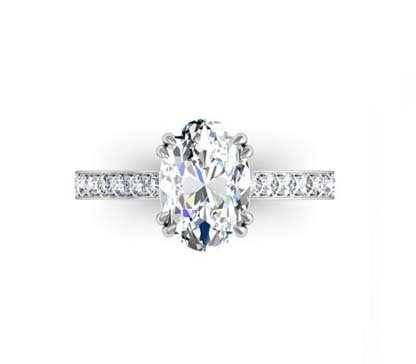 Double Prong Two Carat Oval Diamond Engagement Ring 2 2