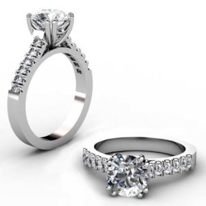 Double Prong Two Carat Round Brilliant Cut Diamond Engagement Ring 1 2