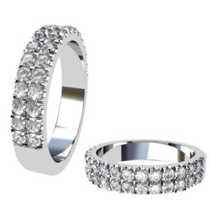 Double Row Cut Down Diamond Wedding Band 1
