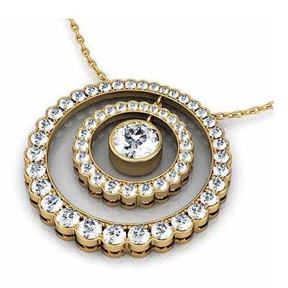 Double Scollop Set Halo Pendant 1 1