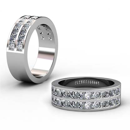 Double princess cut channel set ring 1