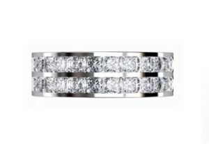 Double princess cut channel set ring 2