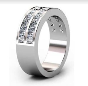 Double princess cut channel set ring 4