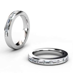 Emerald Cut Channel Set Half Eternity Diamond Ring 1