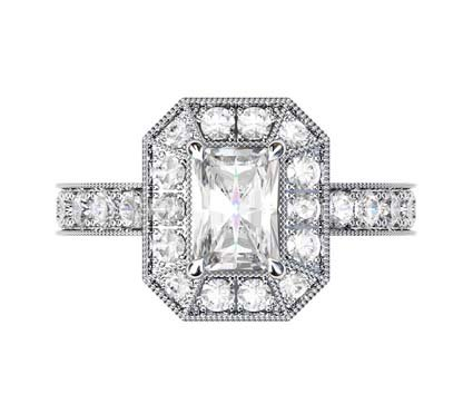 Emerald Cut Diamond Cluster Milgrain Beaded Engagement Ring 2