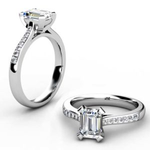 Emerald Cut Diamond Engagement Ring with Flat Prongs 1 2