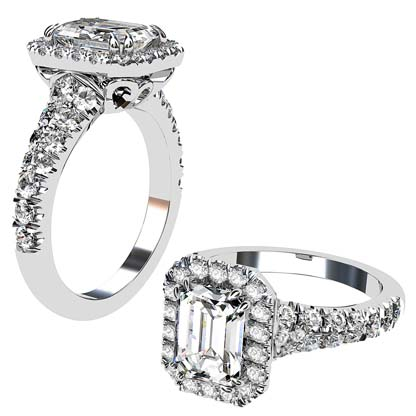 Emerald Cut Diamond Halo Engagement Ring with Filigree Detailing 1 2